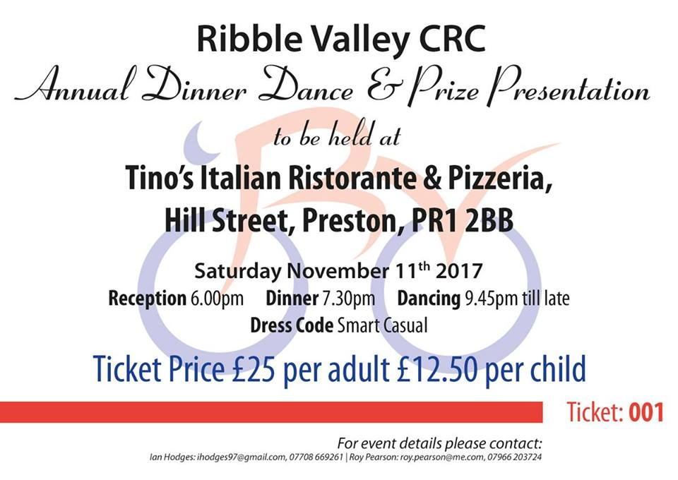 Ribble Valley CRC Dinner & Dance Prize Presentation 2017 Ticket